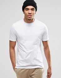 Asos Smart T Shirt With Woven Patch Pockets And Wide Neck Trim White