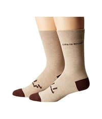 Life Is Good Lig Crew Socks Heather Latte 2 Women's Crew Cut Socks Shoes Brown