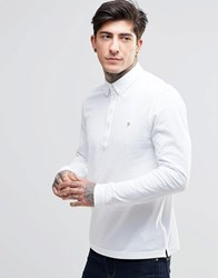 Farah Polo Shirt With Long Sleeves In Slim Fit White White
