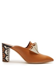 Malone Souliers Hazel Geometric Heel Print Leather Mules Tan White