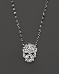 Bloomingdale's Micro Pave Diamond Skull Pendant Necklace In 14K White Gold .14 Ct. T.W.