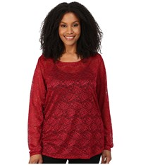 Roper Plus Size 0065 Allover Stretch Lace Top Red Women's Blouse