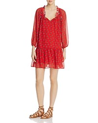 Beltaine Floral Peasant Dress Red