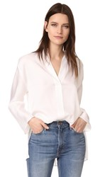 Vince Split Neck Blouse White