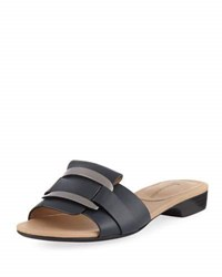 Neiman Marcus Belicia Leather Flat Slide Sandal Blue