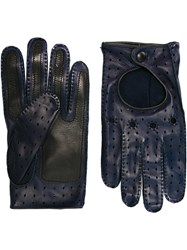 Etro Perforated Gloves Blue