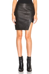 Pam And Gela Asymmetric Leather Skirt In Black