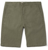 Nn.07 Nn07 Crown Slim Fit Linen Shorts Army Green