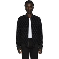 Fendi Black Forever Flocked Logo Bomber Jacket