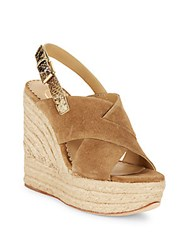 Ash Borneo Wilde Leather Ankle Buckle Wedge Sandals Brown