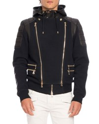 Balmain Leather Paneled Biker Sweatshirt Jacket Black