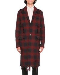 Valentino Love Blade Distressed Plaid Single Breasted Overcoat Navy