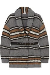 Brunello Cucinelli Belted Striped Wool Blend Cardigan Gray