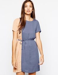 Paisie Two Tone Shift Dress With Pleated Panel Multi