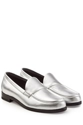 Pierre Hardy Metallic Leather Loafers Silver