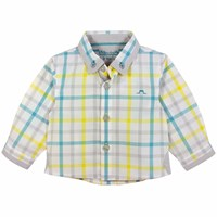 Chateau De Sable French Designer Checked Long Sleeve Shirt Yellow Orange