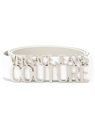 Versace Jeans Couture Logo Buckle Belt White