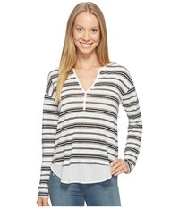 Sanctuary Striped Faraday Henley Top Milk Black Stripe Women's Long Sleeve Pullover Gray