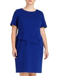 Lafayette New York 148 Plus Origami Sash Sheath Dress Cobalt