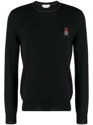Alexander Mcqueen Embroidered Insect Jumper Black