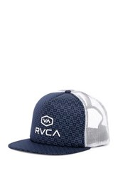 Rvca Riffs Trucker Snap Back Hat Blue