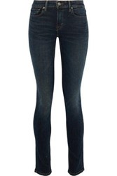 Vince Faded Mid Rise Skinny Jeans Dark Denim
