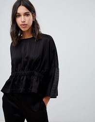 Ted Baker Says Relax Cropped Rouched Top Black