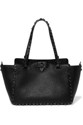 Valentino The Rockstud Textured Leather Trapeze Bag Black