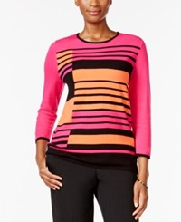 Alfred Dunner Striped Crew Neck Sweater Multi