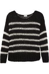 Saint Laurent Striped Open Knit Wool Blend Sweater Black