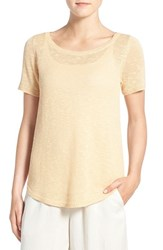 Eileen Fisher Women's Organic Linen And Cotton Scoop Neck Sweater Apricot