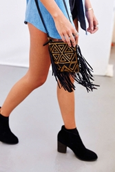Ecote Jasmina Fringe Mini Crossbody Bag Black