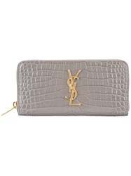 Saint Laurent Monogram Zip Around Purse Grey
