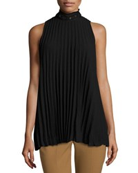 Max Studio Sleeveless Pleated High Neck Blouse Black