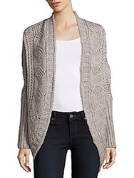 Saks Fifth Avenue Cable Knit Open Front Cardigan Grey