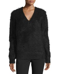 Michael Kors Collection Long Sleeve V Neck Sweater Black Women's Size M