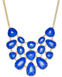 Charter Club Gold Tone Colored Stone Statement Necklace Only At Macy's Blue
