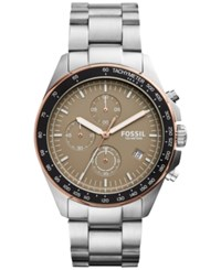 Fossil Men's Chronograph Sport 54 Stainless Steel Bracelet Watch 44Mm Ch3036 Ss Band Cigar Color Dial