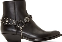 Saint Laurent Black Harness Western Santiag Boots