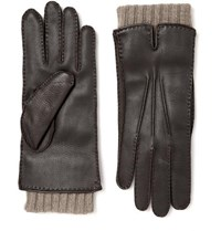 Loro Piana Baby Cashmere Lined Leather Gloves Brown