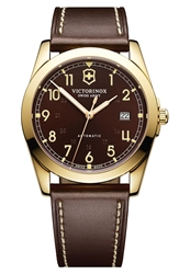 Victorinox 'Infantry' Automatic Leather Strap Watch 40Mm Brown Gold