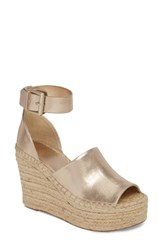Marc Fisher Ltd Adalyn Espadrille Wedge Sandal Gold Leather