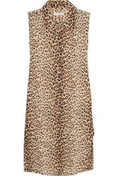 Equipment Lucida Leopard Print Washed Silk Mini Dress