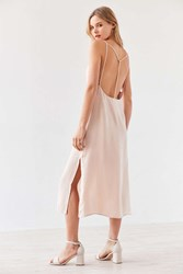 Silence And Noise Strappy Back Shine Midi Slip Dress Cream Multi