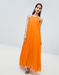 Missguided Pleated Low Back Maxi Dress Orange