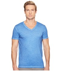 Boss Orange Toulouse Fashion Fit Garment Dyed Jersey V Neck Tee Open Blue Men's Short Sleeve Pullover