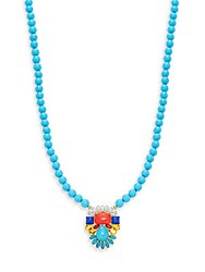 Kenneth Jay Lane Beaded Crystal Pendant Necklace Turquoise