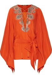 Roberto Cavalli Embellished Silk Satin Blouse Bright Orange