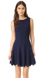 Alice Olivia Paulie Scalloped Dress Navy