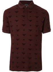 Emporio Armani All Over Logo Polo Shirt Brown